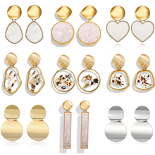 New Korean Heart Statement Drop Earrings 2019 for Women Fashion Vintage Geometric Acrylic Dangle Hanging Earring Jewelry(China)