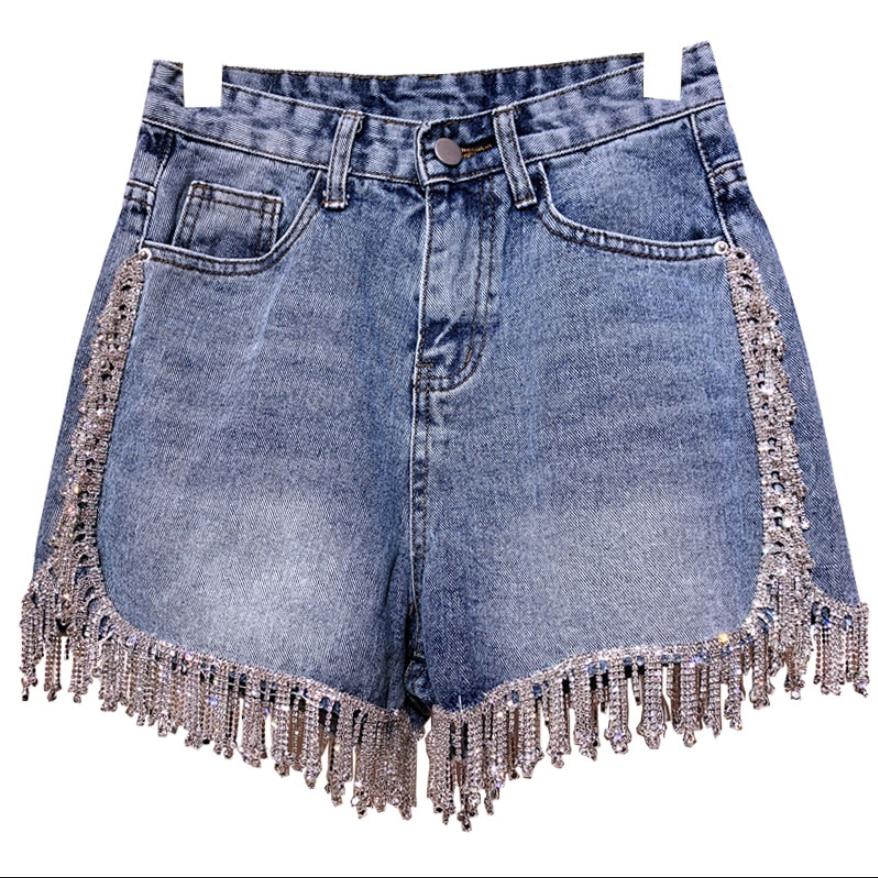 Heavy Work Rhinestone Tassel Denim Shorts Women Summer Fashion High Waist Wide Leg Jeans Shorts
