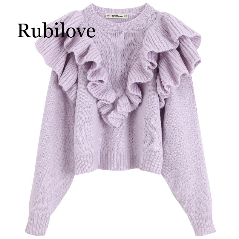 Rubilove Solid Sweaters Women Fashion Cascading Decorative Sweater Elegant O Neck Female Ladies