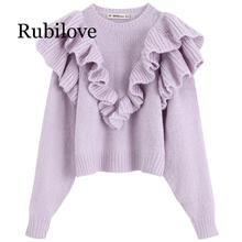 Rubilove Solid Sweaters Women Fashion Cascading Decorative Sweater Elegant O Neck Female Ladies