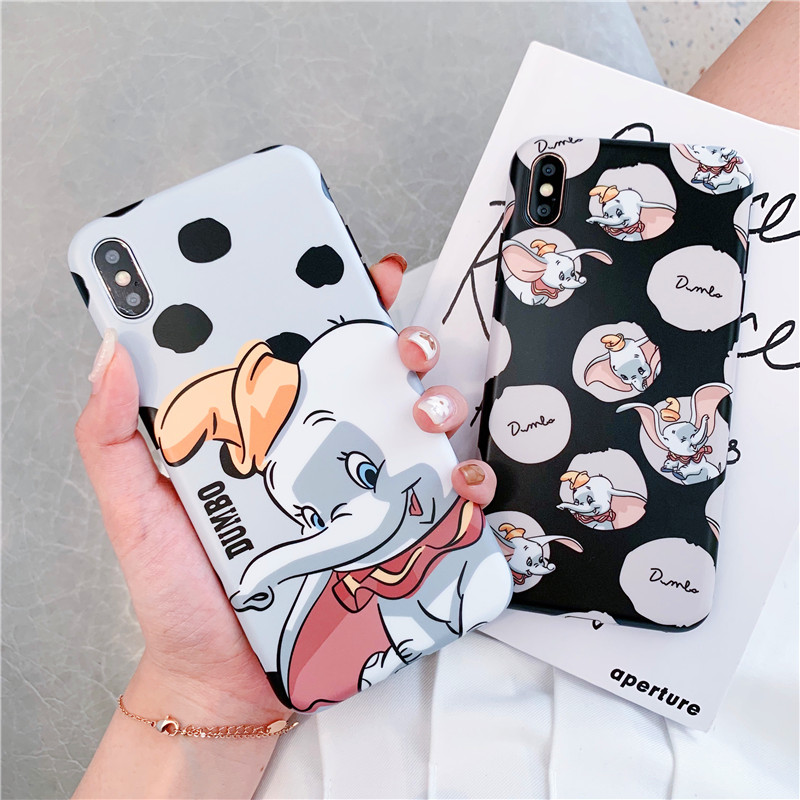 Cartoon Dumbo Elephant Phone Case For IPhone 7Plus Xs Max Xr Fashion Lovely Elephant Matte Imd Soft Silicon Couple Cover