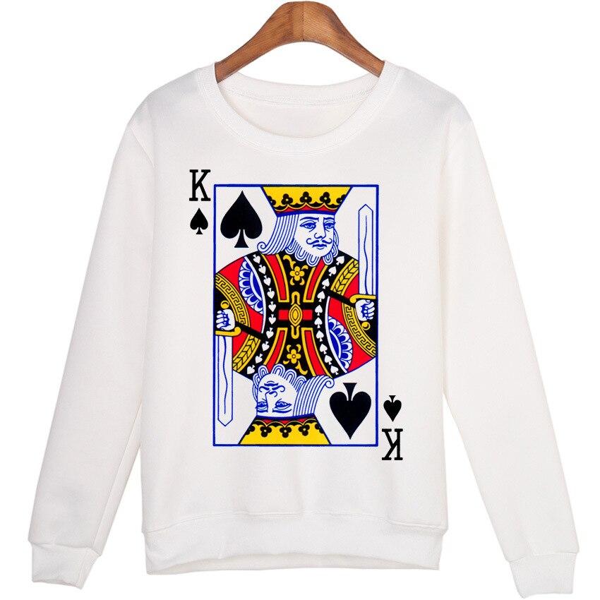 2019 Autumn Winter Women Hoodies Casual Long Sleeve Playing Cards Print Sweatshirt Korean Female Loose Pullovers Tops