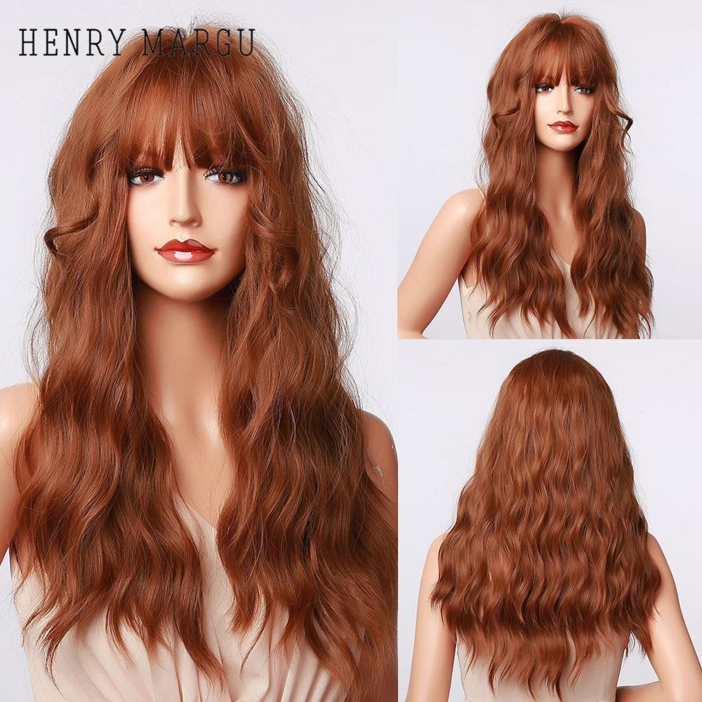Henry margu longo ondulado marrom vermelho laranja perucas com franja cosplay festa resistente ao calor perucas de cabelo sintético para preto feminino afro