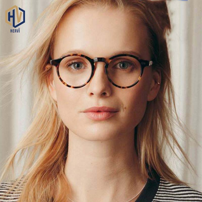 Anti Blue Light Round Men Glasses Frame Women Retro Metal Rice Nail Leopard Optics Spectacles Frames Prescription Eyeglasses
