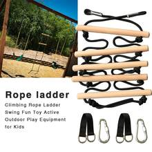 Child Climbing Rope Ladder Wooden Swing Fun Toy Active Outdoor Play Equipment For Kids Climbing Arm Training Accessories(China)
