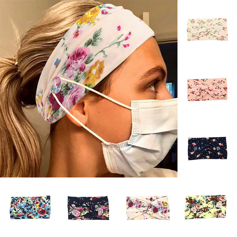 Women Floral Headband Wide Strtch Hairbands Cross Turban Button Hair Band Girls Bohemian Headbands Headwrap Hair Accessories