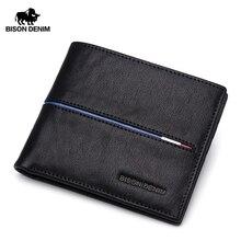 BISON DENIM Echtem Leder Brieftasche Männer Marke Mode Kurze Geldbörsen Geldbörse ID Kreditkarte Halter Schlank Bifold Brieftasche Männer n4437