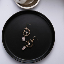 2019 Cute Vintage Simulated Pearl Magpie Bird Animal Tree Branch Circle Irregular Natural Stone Drop Earrings for Women Jewelry vintage bird tree branch brooch for women