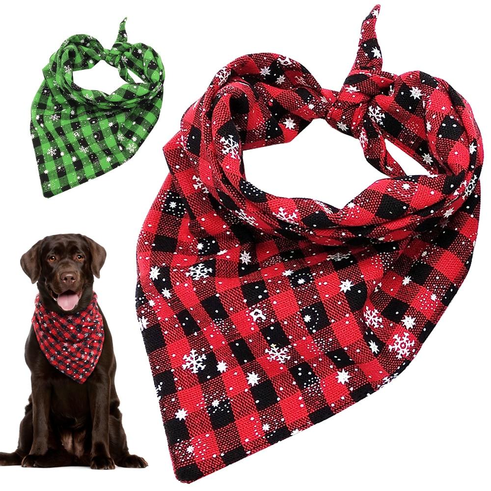 Christmas Dog Bandana Plaid Dogs Bibs Large font b Pet b font Scarf Adjustable Cat Banadas