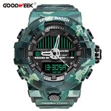 GOODWEEK Army Military Sport Watch Men Digital Waterproof Shock Resitant Quartz Watches Chronograph Dual Display Reloj