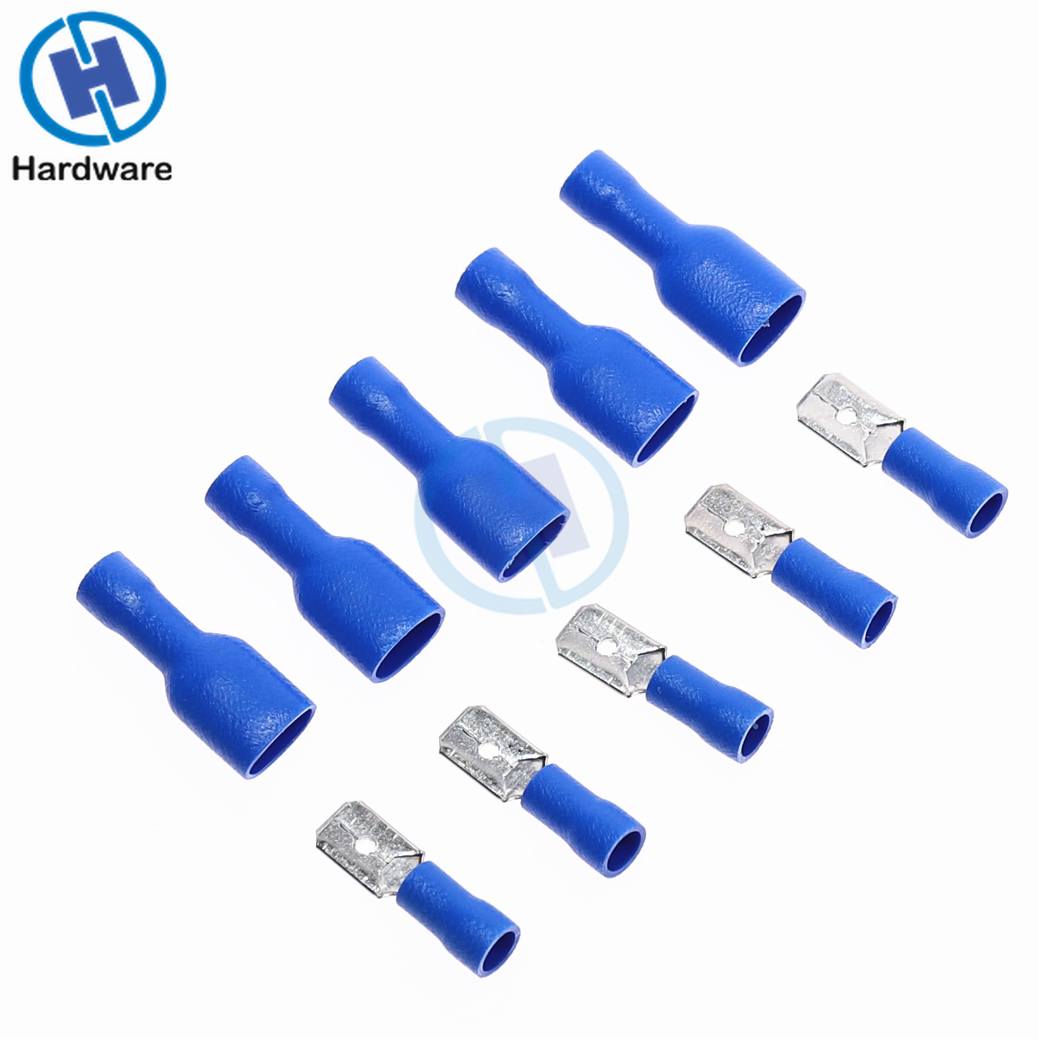100PCS Blue 16-14 AWG Insulated Spade Crimp Wire Cable Connector Terminal Male Female Kit