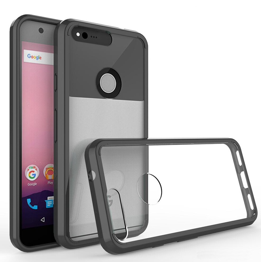 "Slim Hybrid Cover Air Pushing Technology Case med klart bagpanel, stødtæt taske til Google Pixel 5.0 ""/ Pixel XL 5.5"""
