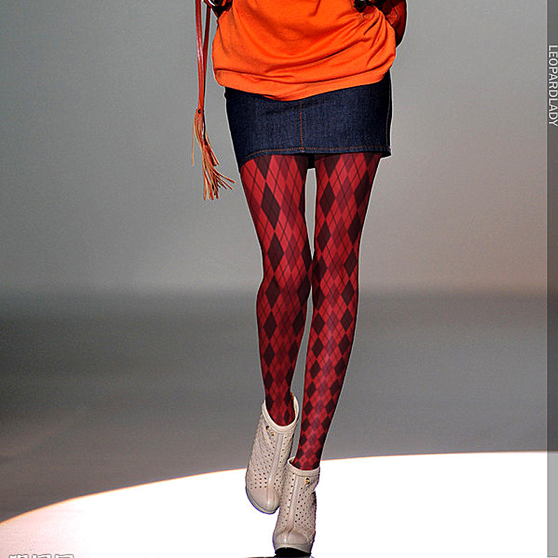 RUIN Original Women 's Tights Red Plaid Print Pantyhose Female Girl Tights