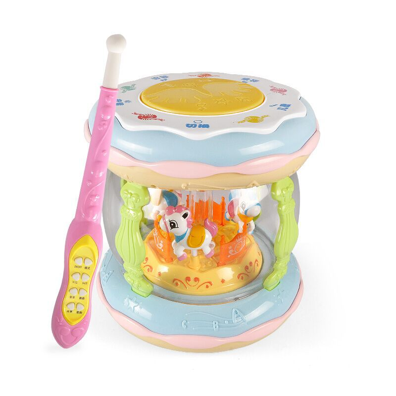 Large Size Rechargeable Remote Control Merry-go-round Music Drum With Microphone Hand Drum Children Early Childhood Music Toy