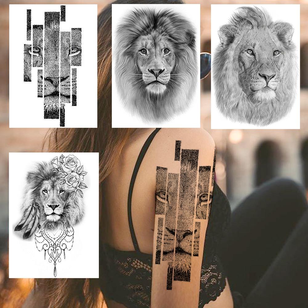 Sketch Realistic Lion Temporary Tattoos Sticker For Men Women Body Arm Leg Art Tatoos Washable King Of Beast Fake Feather Tattoo