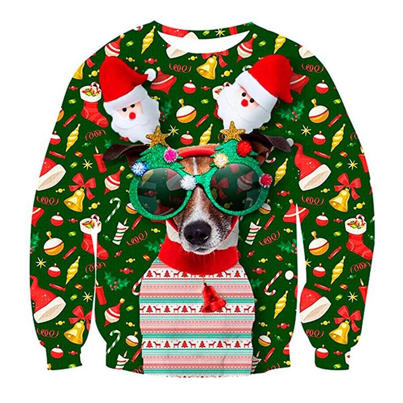 Unisex Men Women 2019 Ugly Christmas Sweater For Holidays Santa Elf Christmas Funny Fake Hair Sweater Autumn Winter Blouses