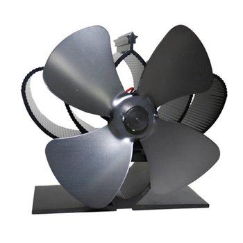 Czarny kominek 4 ostrze zasilany termicznie piec na pelety wentylator piekarnik palnik drewna Eco Fan narzędzia do akcesoriów dekoracyjnych Portal tanie i dobre opinie CN (pochodzenie) T4512 Kominkowe mantels iron Fireplace fan Stove Fan Black Aluminum Heat Powered Stove Fan