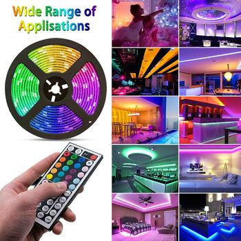 5m 10m 3528 led strip rgb non waterproof 5m roll 60leds m smd led stripe light dc12v power adapter music remote controller Led Strip Light 3528 SMD RGB Tape 5M DC12V Flexible RGB LED Stripe Ribbon Diode 44Key Remote Controller with Adapter