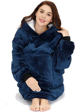 トレーナー女性特大パーカーフリース暖かいパーカー巨大テレビ毛布パーカーローブcasaco feminino男性女性の家の服