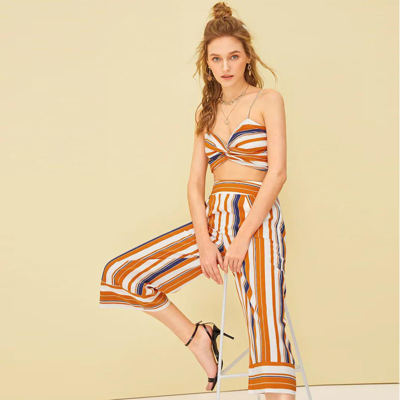 2019 Summer Wear New Style Europe And America Fashion Set Amazon EBay Foreign Trade Online Celebrity Hot Sales Stripes Wrap-arou
