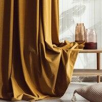 Moderno e minimalista luxo veludo cortina de janela ouro cor sólida semi sombra cortinas para o quarto e sala estar