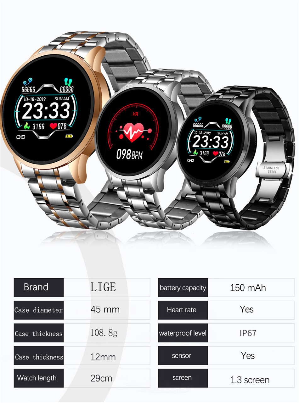 H772ad8dc0e404c0d8f885da68f68d65dI LIGE 2020 New Smart Watch Men Heart Rate Blood Pressure Information Reminder Sport Waterproof Smart Watch for Android IOS Phone