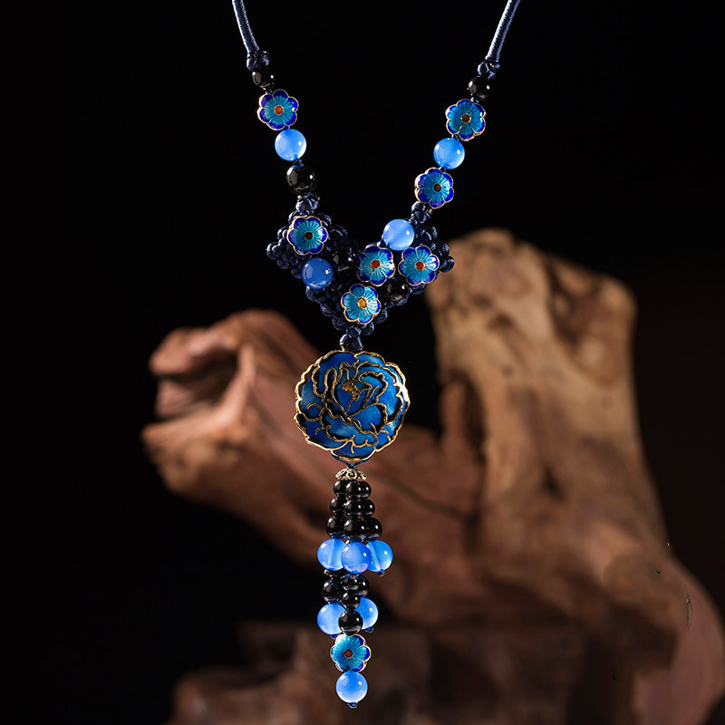 Blue Cloisonne Ethnic Long Necklace Vintage Accessories Chinese knot Enamel Sweater Chains Hanging Ornaments Decorative Chain