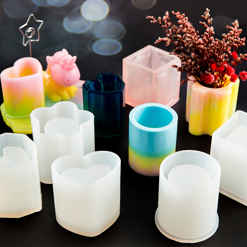 Silicone Mold Dried Flower Resin Decorative Craft Diy Storage Pen Holder Mould Epoxy Resin Concrete Molds Candle Pot Mold