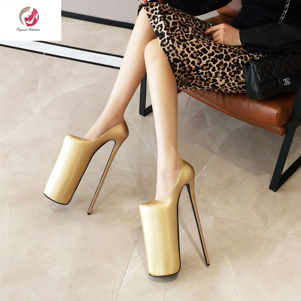 Original Intention Gold Silver Super High <font><b>30cm</b></font> <font><b>Heel</b></font> Height <font><b>Heels</b></font> Pumps Woman Round Toe 20 cm Platform Stylish Pumps Female 3-20 image