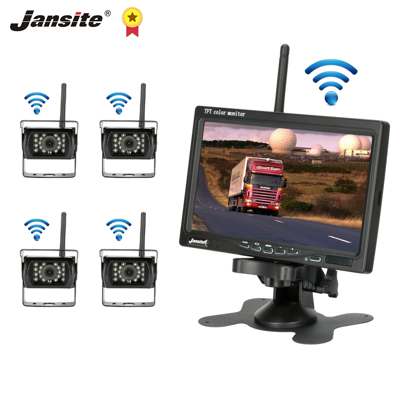 Jansite 7inch Wireless Car Monitor Truck Rear View Camera 12-24V Night Vision monitor for back up camera Bus RV Harvester 4 Cameras