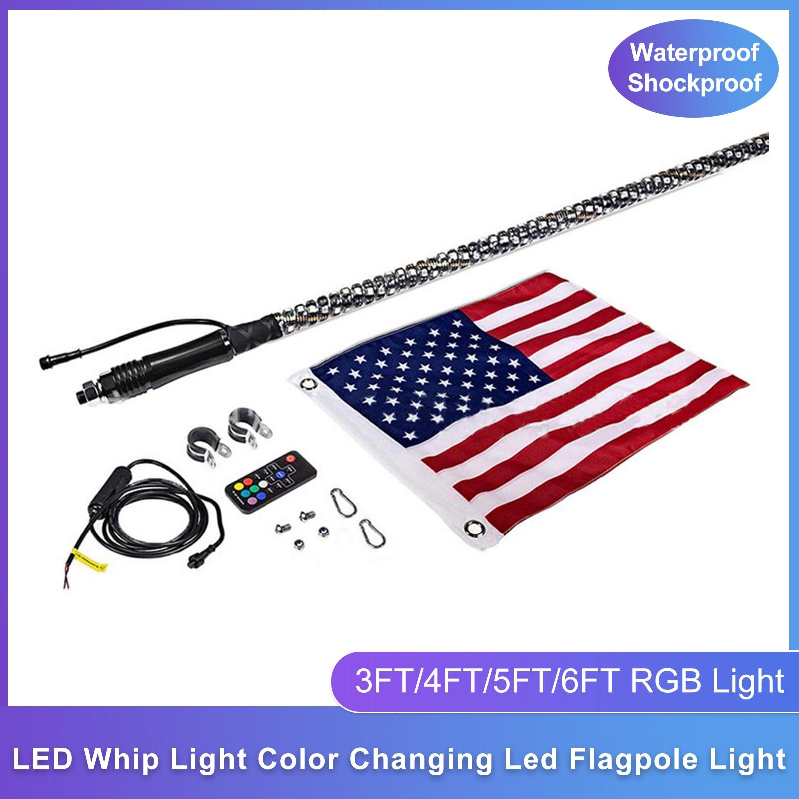 LED Whip Light Waterproof Dustproof Shockproof Flagpole Light 3FT/4FT/5FT/6FT RGB Off-road ATV Color