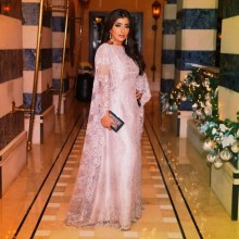 Elegant Dubai Long Sleeve Muslim Pink Lace Arabic Style Evening prom Gown China 2020 robe de soiree