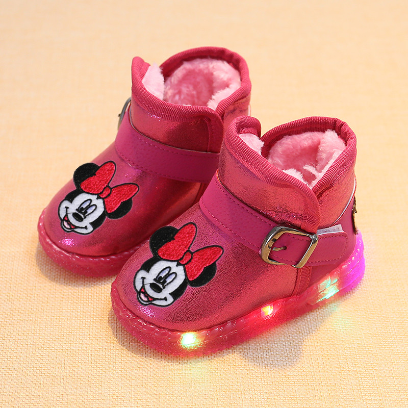 Disney Children's Cartoon Minnie Mickey Baby Cotton Boots Plus Velvet Thick Warm Cotton Shoes With LED Lights
