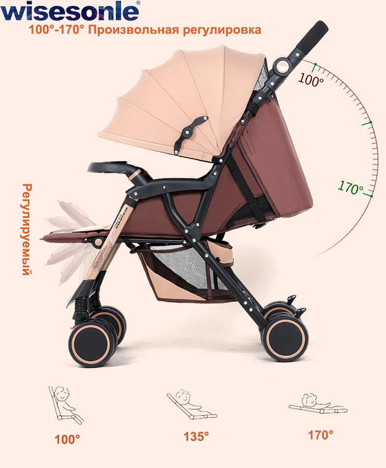 Wisesonle cochecito de bebé gemelo se puede dividir, sentarse, tumbar, ligero, dos plazas, tamaño doble, cuatro cochecito con ruedas