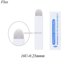 0.25mm Laminas Tebori Microblading 16u Pontas  Needles Agulhas Manual Line Eyebrow Tattoo Blade