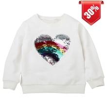 chifuna new Rainbow Sequin love Baby Girls Boys Sweatshirt Children Outerwear Girl Clothes Cute