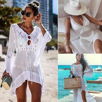 Sexy Cover Up Bikini Women Swimsuit Cover-up Beach Bathing Suit Beach Wear Knitting Swimwear Mesh Beach Dress Tunic Robe 1