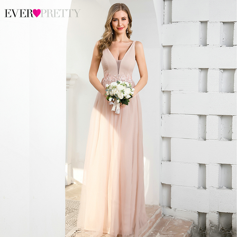 Elegant Pink Evening Dresses Ever Pretty A-Line V-Neck Appliques Sleeveless Tulle Simple Evening Party Gowns Robe De Soiree