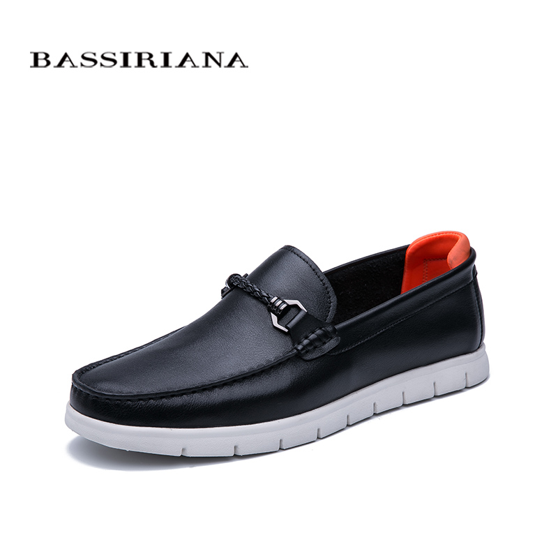Bassiriana 2020 Spring New Men's Casual Shoes, Black Leather, White Bottom, Comfortable Rubber Outsole, Fashion Men Shoes
