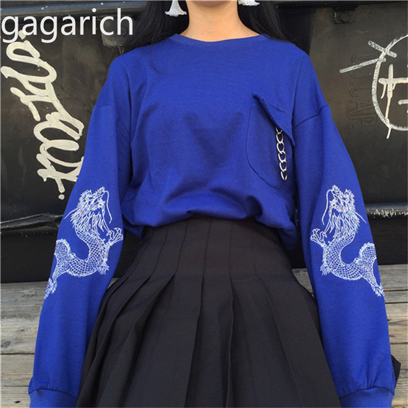 Gagarich 2020 Korean Version Spring Women Clothes Harajuku Style Personality Circle Dragon Embroidery Loose Long Sleeve Hoodies
