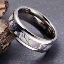 TIGRADE Men Women Ring Titanium New Personalized Design Forest Scenery Inlay Cool Couple for Wedding Anniversary Band 6/8mm