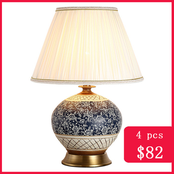TUDA Chinese Ceramic Table Lamp Bedside Blue Lamps for the Bedroom Living Room Vintage Home Decor