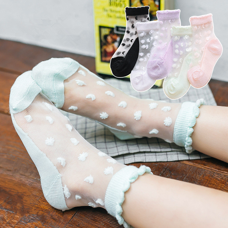 5 Pairs/Lot Girls Socks Summer Breathable Children Short Ankle Socks For 2-12 Years Kids Soft Cotton Lace Princess Mesh Socks
