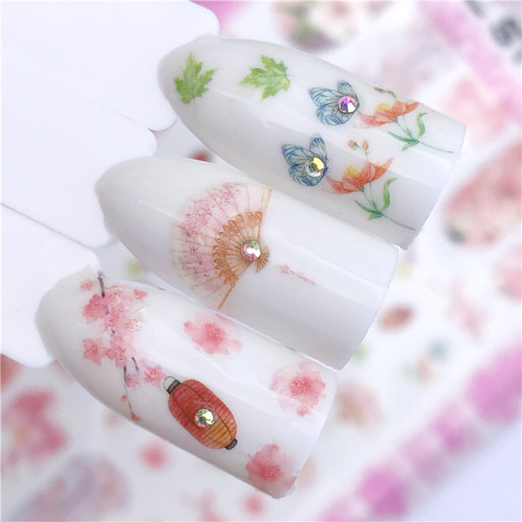 Foreign Trade Japan Photo Hipster Flower Succulents Nail Ornament Nail Sticker Wholesale Factory Direct Selling