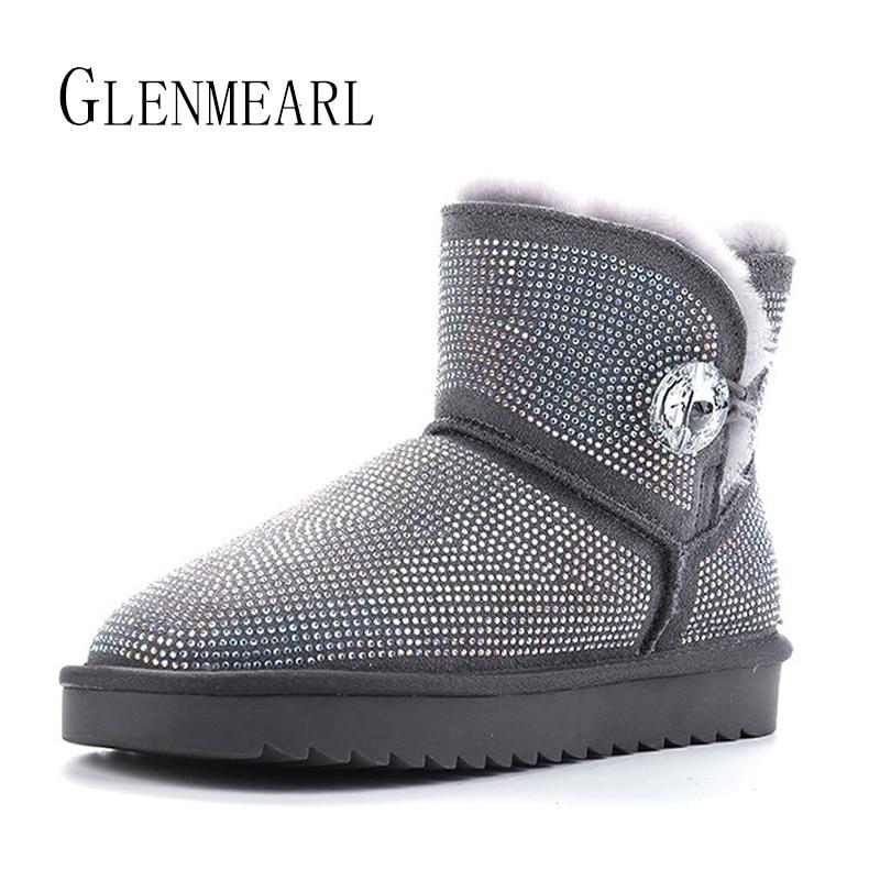 Luxury Boots Woman Genuine Leather Rhinestone Snow Boots Flat Wool Fur Women Winter Shoes Warm Platform Plus Size Ankle Boots DE
