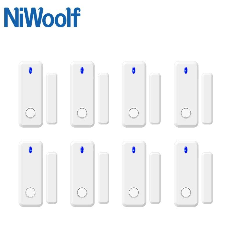 NIWOOLF 433MHz Wireless Door Open Closed Detector 2-way Door Contact Detector Megnet Sensor For Our Home Burglar Alarm System