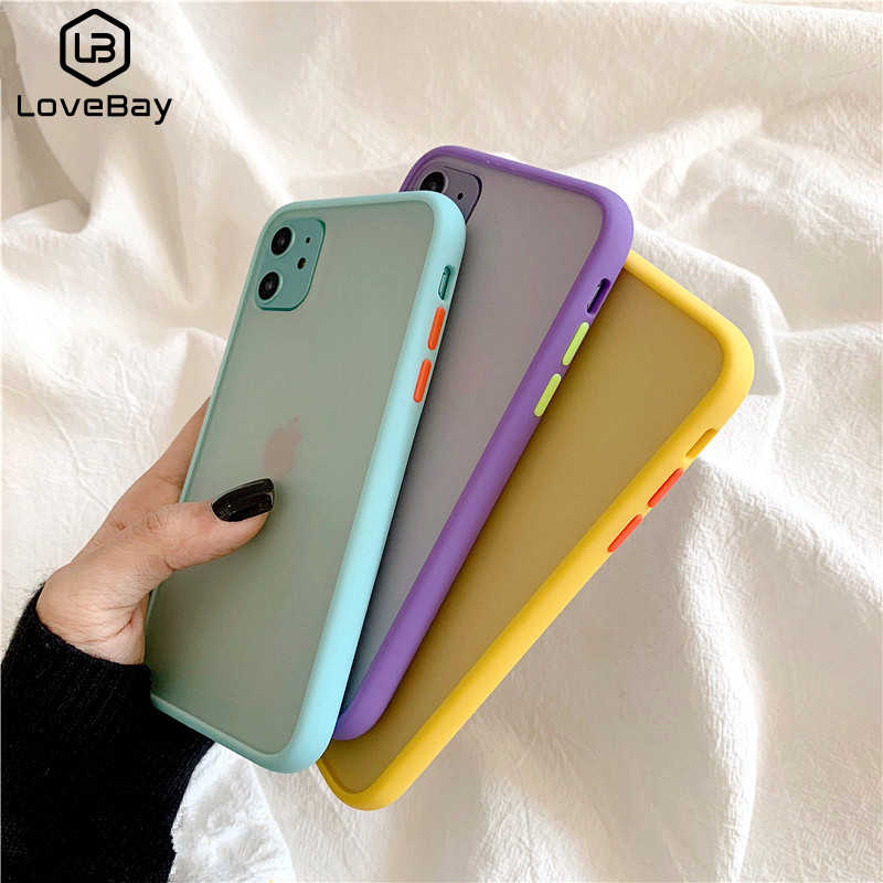 Lovebay Mint Hybrid Sederhana Matte Phone Case untuk iPhone 11 Pro XR X Max 6 S 8 7 6 Plus TPU Lembut Shockproof Silikon Clear Cover