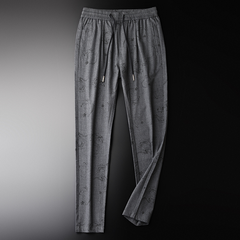 Spring And Summer Mens Pants Luxury Allover Printed Elastic Waist Mens Trousers Plus Size 4xl Slim Young Man Casual Pants