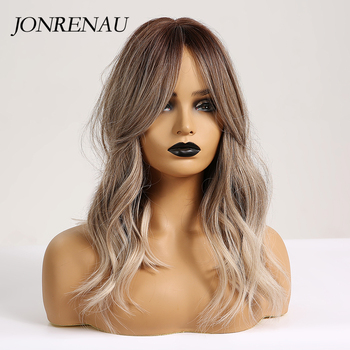 JONRENAU 16 Inches Synthetic Platinum Blonde Hair Long Natural Wave Ombre Brown Mixed Color Party Wigs for White/Black Women 2