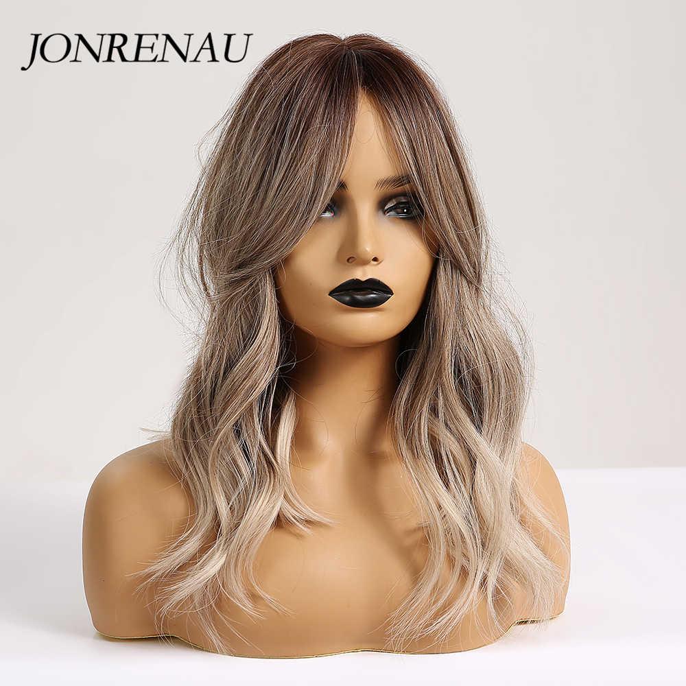 Jonrenau 16 polegadas sintético platinum loira cabelo longo onda natural ombre brown cor misturada festa perucas para branco/preto